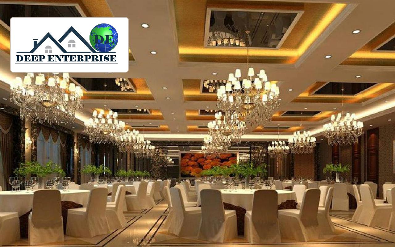 False ceiling design for marriage hall for Wedding hall design